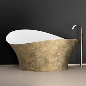 Cadă ceramică aurie pentru baie