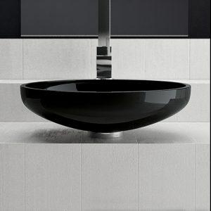 Lavoar oval negru din ceramică pentru baie